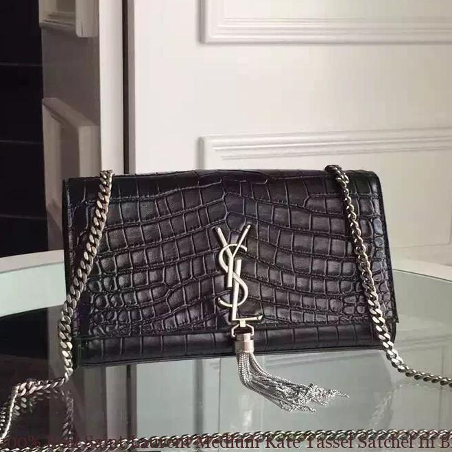 2978aa89beb 100% Real Saint Laurent Medium Kate Tassel Satchel In Black Crocodile  Embossed Leather ...
