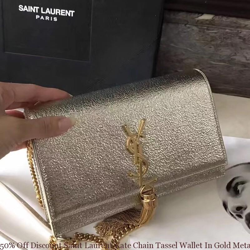 6f44c3654d 50% Off Discount Saint Laurent Kate Chain Tassel Wallet In Gold ...