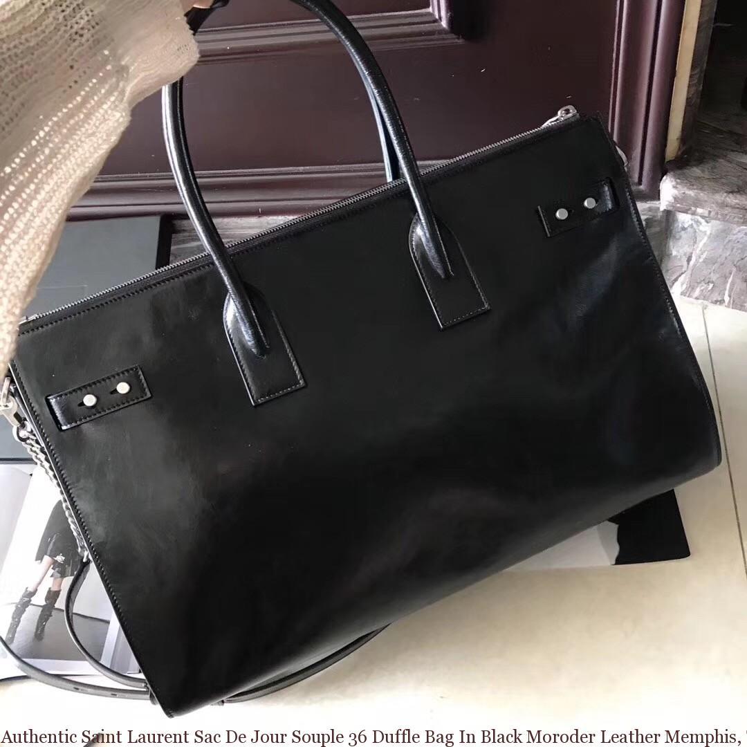 44823cc636b Authentic Saint Laurent Sac De Jour Souple 36 Duffle Bag In Black Moroder  Leather ...