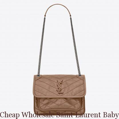 15334e65a686 Cheap Wholesale Saint Laurent Baby Niki Chain Bag In Taupe Crinkled ...