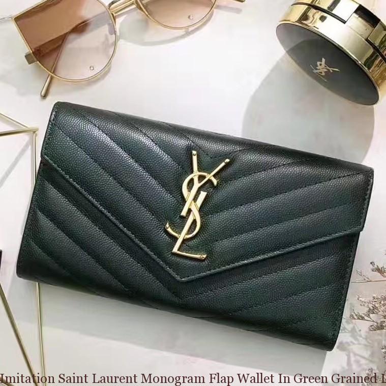 5ef8359701c Imitation Saint Laurent Monogram Flap Wallet In Green Grained ...