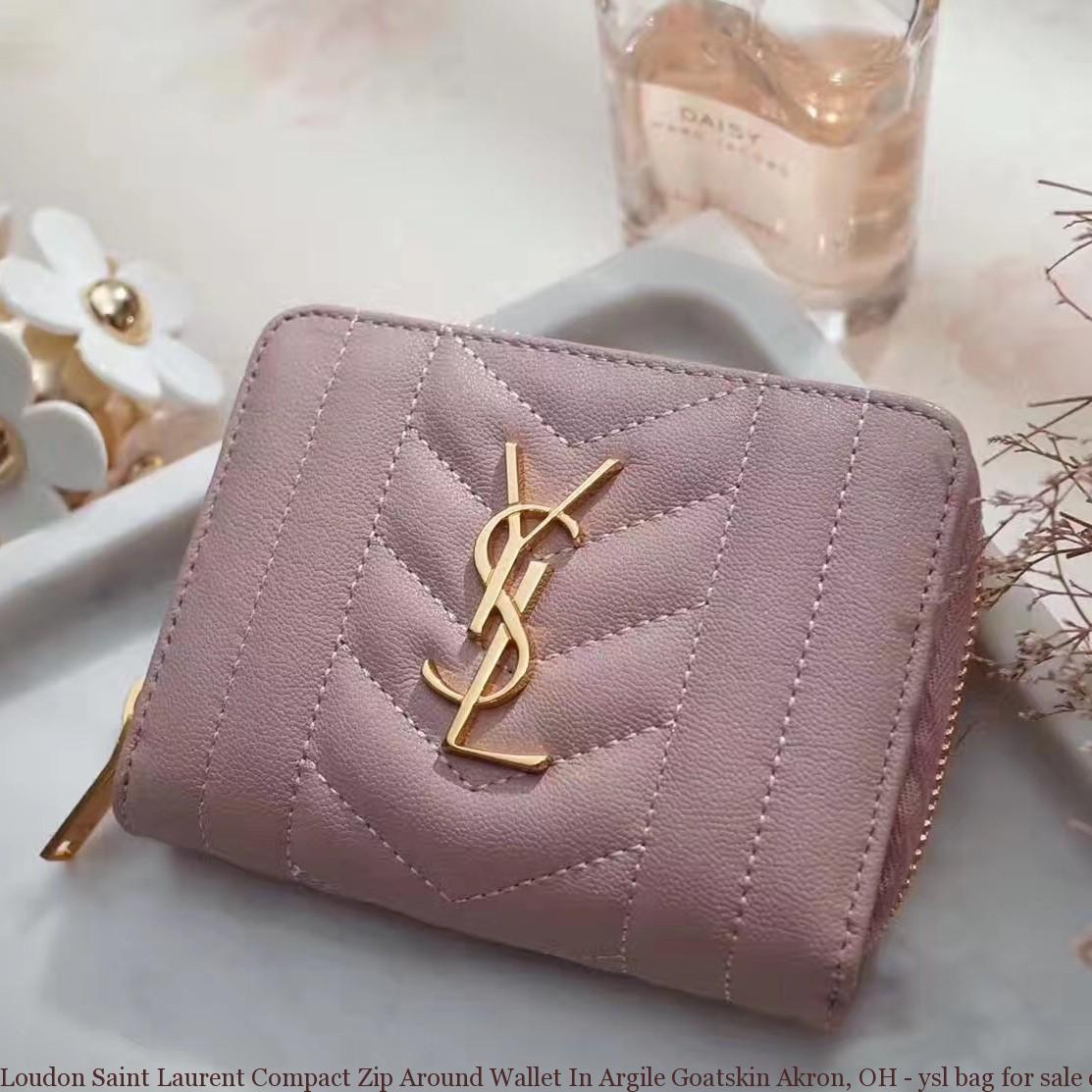 Loudon Saint Laurent Compact Zip Around Wallet In Argile Goatskin ... f76382f72eab7